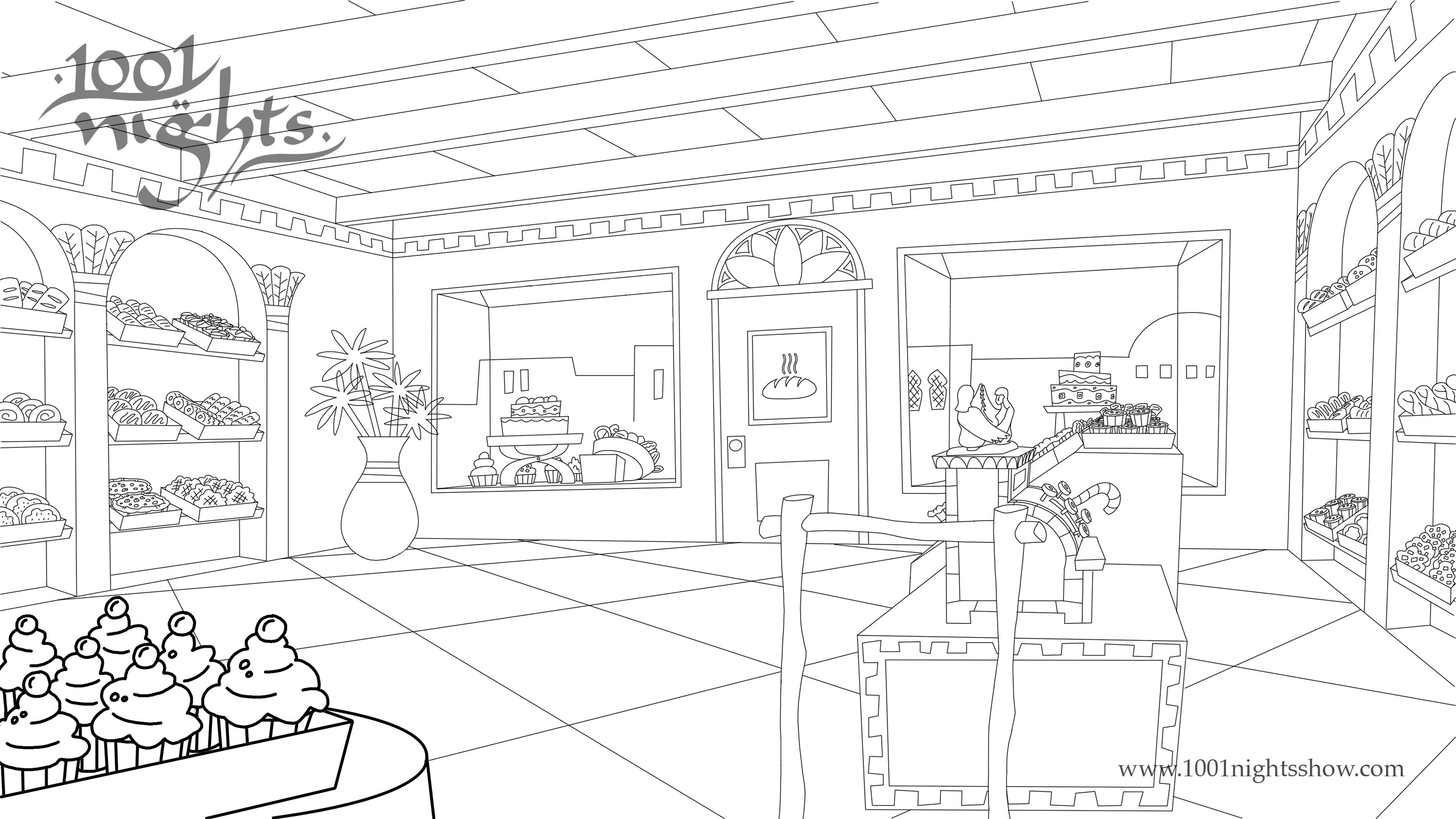 1001 nights Bakery Coloring Pages for Adults  Coloring Pages Bakery